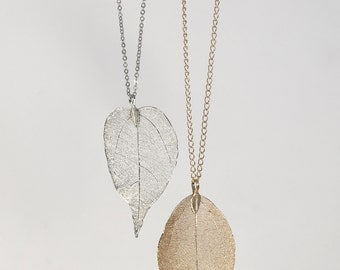 Leaf necklace, long necklace with leaf pendant, silver of gold leaf pendant necklace