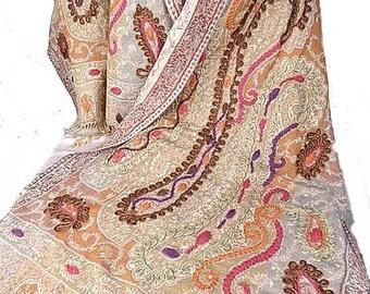 PASHMINA WOOL BRODEE rusty hand taupe wool wool shawl scarf woman pk85