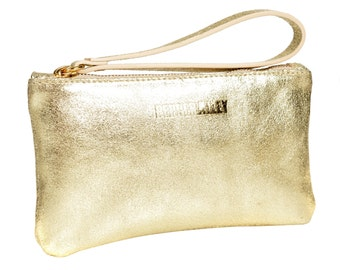 Gold Leather Wristlet Purse with Ruby Satin Lining