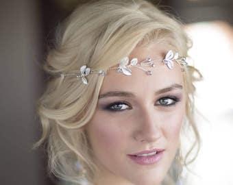 Silver Hair Vine, Silver Bridal Headpiece, Boho Bridal Belt Sash, Pearls, Crystals, Silver Bridal Crown, Silver Wedding, Headpiece 6(S)
