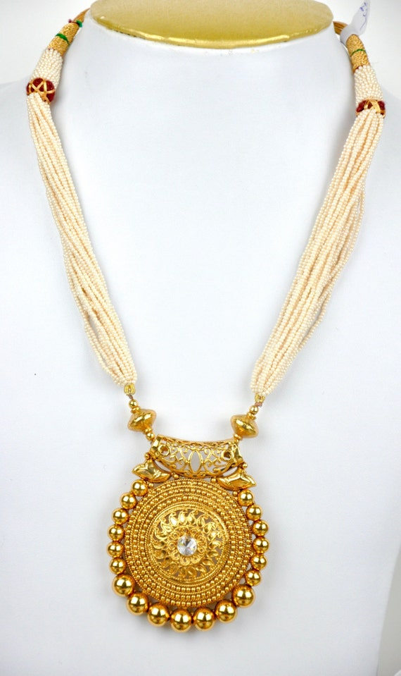 Antique faux pearl necklace with gold pendant and stud earrings | Indian Jewellery | Indian Necklace | Temple Jewelry