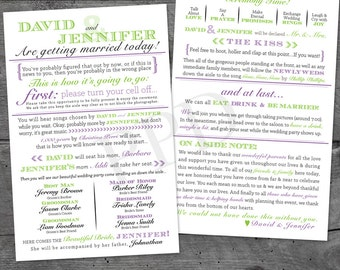 Fun Wedding Programs, Wedding Program, Printable Wedding Program, Typography Wedding Program, Digital Wedding Program - 5.5 x 8.5 Programs