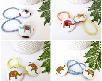 Cute Girls 25mm Button Hair Elastics Retro Fabrics Hair Accessories Baby Girls Ponytail
