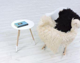 Luxury genuine Icelandic single curly sheepskin rug, natural colour, 110cm x 80cm, G576