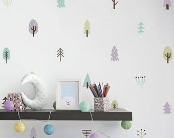 Tree Wall Decals - Woodland Nursery Decals, 4-Color Tree Wall Stickers, Vinyl Wall Decals, Kids Bedroom Decals