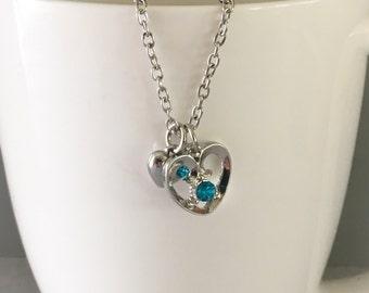 December birthstone necklace, blue zircon birthstone necklace, december necklace, blue zircon necklace, blue pendant necklace, blue necklace