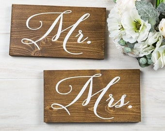 Wedding Signs- Wedding Chair Signs- Mr. and Mrs.- Ethereal Wedding- Wedding Signs- Woodland Wedding- Rustic Wedding Decor- Vintage Wedding