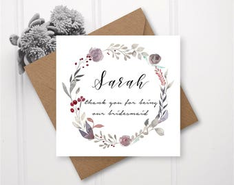 Floral Winter Wreath Wedding Thank You Card - Handmade & Personalised for Bridesmaids, Flower Girls and Maid of Honour/Honor