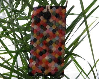 Colorful cross-stitched phone case