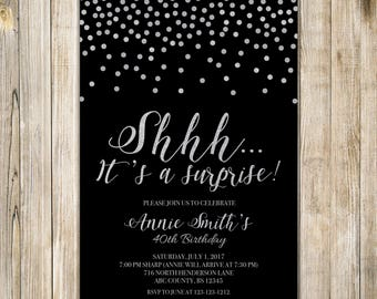 Confetti Surprise Birthday Party Invitation, Shhh It's A Surprise, Digital Black Silver Glitters Birthday Invite, Woman Man Fabulous Any Age