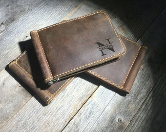 QUANTITY DISCOUNTS, Cowhide leather money clip, personalized leather money clip, leather card holder, leather money clip, credit card wallet