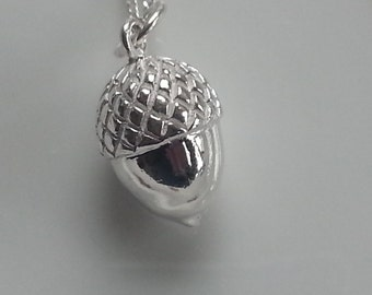 Sterling Silver Solid 3D Acorn Pendant Necklace Nature Gift