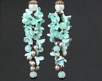 Fashion jewelry Boho earrings Polymer clay Jewelry Polymer clay Earrings Floral Earrings Boho Jewelry Mint Long earrings Gift for her