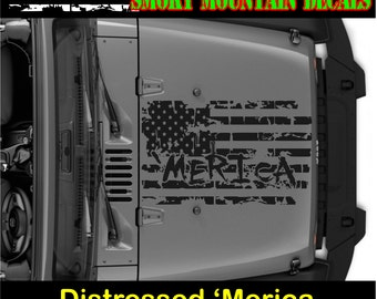 MERICA Distressed Hood flag decal sticker Choice of color, Made In The USA. looks great on the hood of your Jeep . great gift idea for jeep