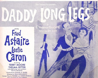 "Fred Astaire, Leslie Caron, 1955, ""Something's Gotta Give"" DADDY LONG LEGS vintage Sheet Music"