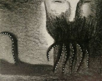 Original Illustration Monster ACEO Outsider Folk Art Miniature Horror Collectible Trading Card Pencil Drawing Whimsical Creepy Weird Stuff