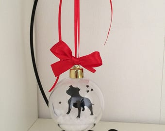 Staffordshire Bull Terrier Dog Silhouette in the Snow Acrylic Bauble can be Personalised
