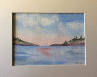 Serene Lake original watercolor painting matted and signed