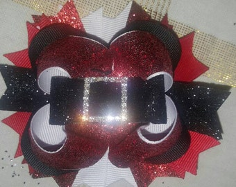 Santa boutique bow with lined alligator clip