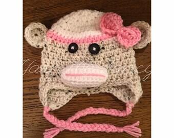 Crochet Sock Monkey Earflap Hat