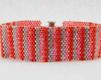 Beaded Bracelet - Seed Bead - Orangy Stripes