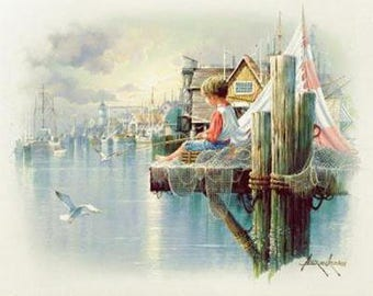"""Andre's Orpinas """" Boy at the Pier""""Reproduction Print 8 x 10 Home Wall Decor  print, Office decor, modern art,Bathroom"""
