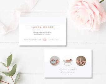 Newborn Photographer Business Card Template, Business Card Templates for Photographers, InDesign Template - INSTANT DOWNLOAD