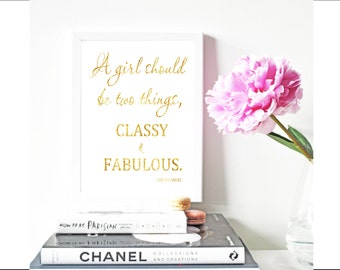 Coco Chanel classy & fabulous VII , Real Foil gold print, Metallic foil art card backed foiled  rose, gold, silver,pink,blue, sparkle
