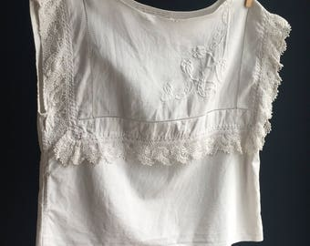 Antique hand embroidered top made from heirloom cloth, paired with French linen. One of a kind piece, exquisite detailing, women's clothing