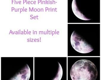 Pinkish-Purple Moon Phase Photography 5 Piece Set