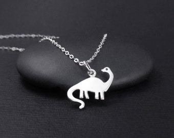 Brontosaurus Necklace, Dinosaur Necklace, Sterling Silver Dinosaur Charm, Prehistoric Jewelry, Jurassic Jewelry