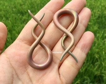 Antique Metallic Earth Double Twists Pyrex Glass  4g 2g 0g 00g  5 mm 6 mm 6.5 mm 8 mm 9 mm 9.5 mm