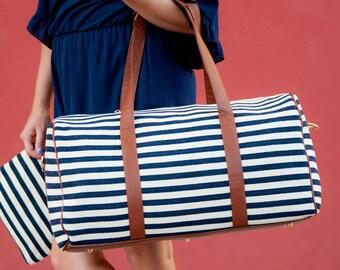 Duffle bag Striped Duffle Bag Monogram Duffle bag Chandler Stripe Duffle Personalized Duffle bag Duffle bag travel Duffle bag Gifts for her