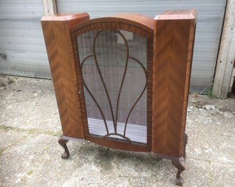Superb Deco drop-front barrel-top china display cabinet, Ball & claw, stylish.