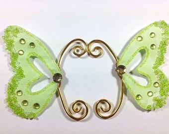 Fairy Earwings Ear Wing Butterfly Wings Fairy Costume Wings Cosplay Wings Green Earwings Green Glitter Earwings
