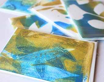 Monoprint cards, Blank greeting cards with matching envelopes, Unique cards, handmade greeting cards, hand printed cards, art cards