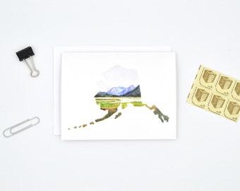 Alaska Notecard - Alaska Gift - Watercolor Card - Alaska Art - Blank Notecard - Alaska Landscape - Alaska Map - Long Distance Stationary