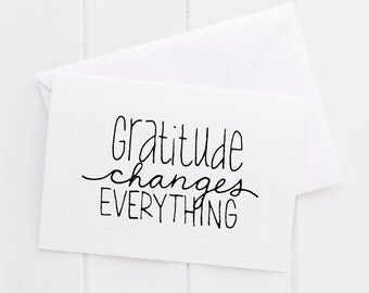 Gratitude Hand lettered Note Card, print, typography gift, holiday present, bedroom home decor quote, card, mom sister friend dad brother