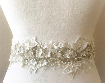 Bridal Sash, Bridal belt, Wedding Sash, Wedding Belt, Bridesmaids Belt Sash, Rhinestone Wedding Gown Sash Belt, All around Belt-CHLOE