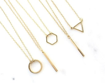 Layering Necklace Dainty Jewelry, Bar Circle Triangle Leaf Necklace Minimalistic Jewelry Layer Layered Gold Delicate Simple Necklace AAAZAP