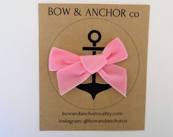 Pink velvet bow | velvet bow headband, velvet bow clip, pink pigtail set, velvet pigtail set, pink baby headband, velvet baby headband