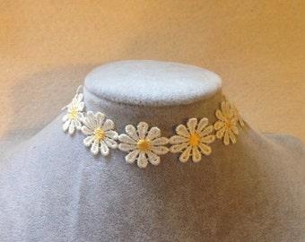 Daisy flower ribbon lace choker necklace