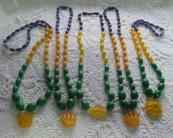 E---Vintage New Orleans Mardi Gras beads, made in  Hong Kong from Krewe of Rex--King of Carnival 1970's & 80's