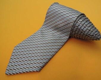 Ermenegildo Zegna Tie Woven Silk Geometric Pattern Gray Vintage Designer Dress Necktie Made In Italy