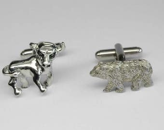 Impressive Silver Tone High Relief Bull Bear Stock Market Cuff Links Greed is Good But Looking Good Is Better :)