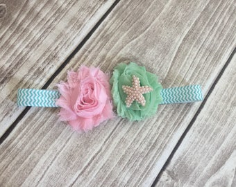 Baby starfish headband, mermaid headband, newborn photo prop, baby girl headband, baby shower gift, mermaid photo prop, baby girl gift