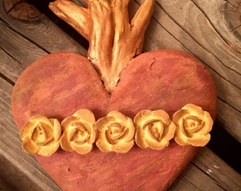 Eternal Flame Heart Wall with Roses Hanging Handmade Sacred Heart Mexico Rustic Small Spaces Decor Hanger on Back
