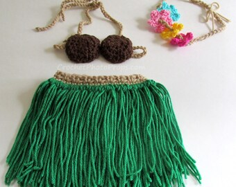 Hula dance grass skirt & coconut bra photo prop or Luau outfit with lei/headband-Newborn-3 months, 3-6 mos, 6-12 mos, 12-24 months, 2T-4T