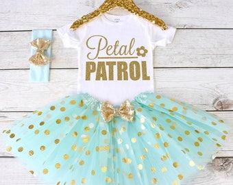Petal Patrol. Flower Girl Shirt. Flower Girl Outfit. Flower Girl Tutu Outfit. Petal Patrol Shirt. Rehearsal Dinner. Wedding. S30 FWG (AQUA)