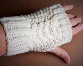 Hand Knit Cabled Fingerless Gloves in Off-White